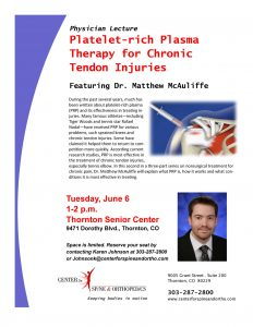 FREE Physician Lecture — PRP for Chronic Tendon Injuries