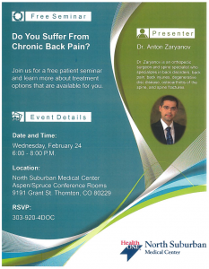 Dr. Zaryanov to Lead Free Patient Seminar on Chronic Back Pain